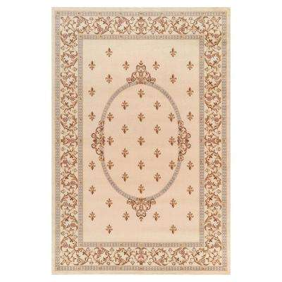 Jewel Collection Fleur De Lys medallion Ivory Rectangle Indoor 9 ft. 3 in. x 12 ft. 6 in. Area Rug