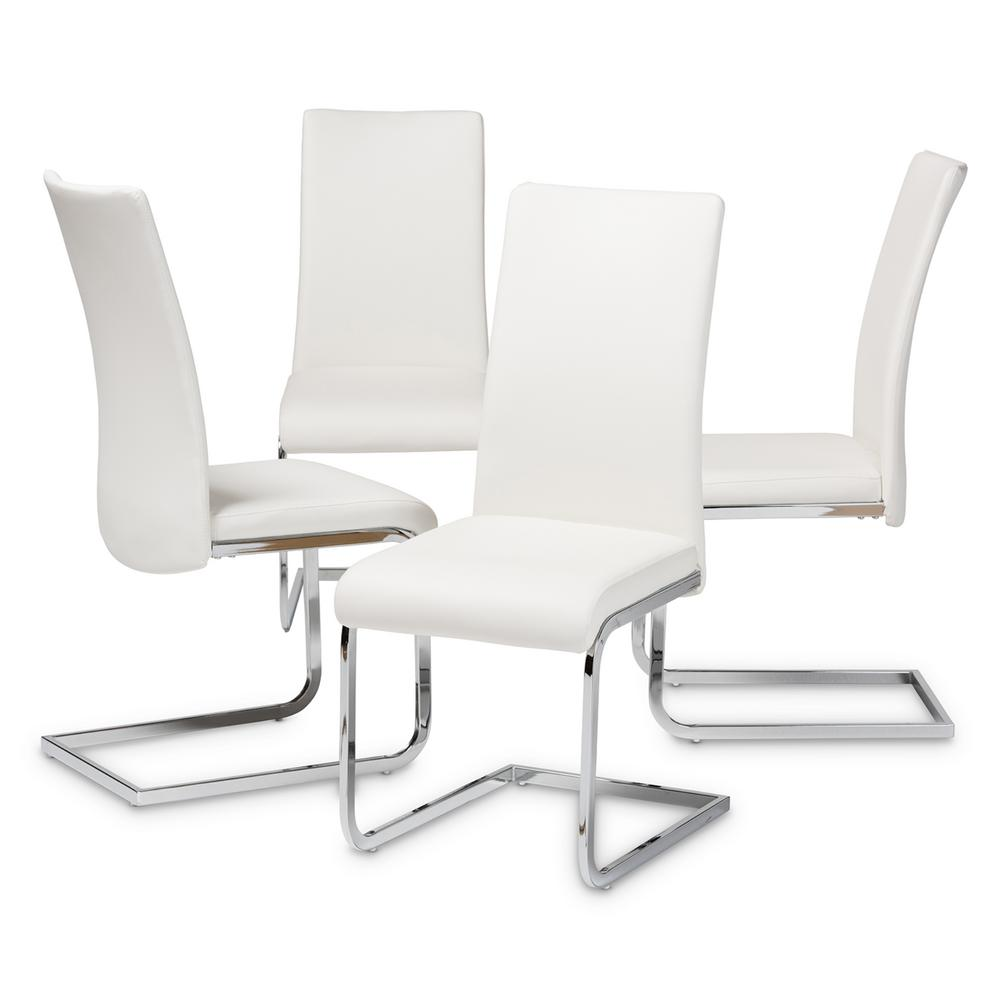 Astounding Baxton Studio Cyprien White Faux Leather Upholstered Dining Ibusinesslaw Wood Chair Design Ideas Ibusinesslaworg