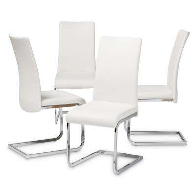 Cyprien White Faux Leather Upholstered Dining Chair (Set of 4)