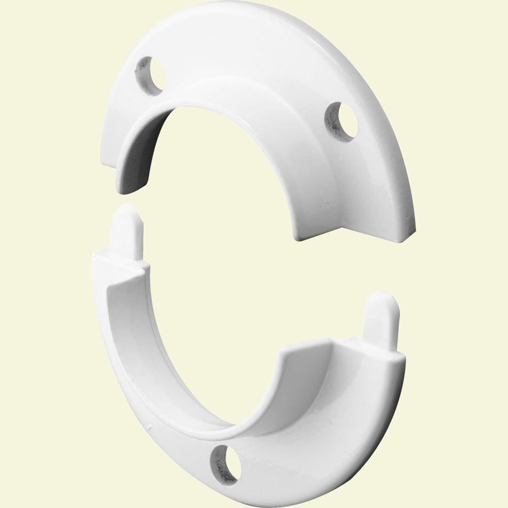 Prime-Line Cast 2-Piece White Closet Pole Socket