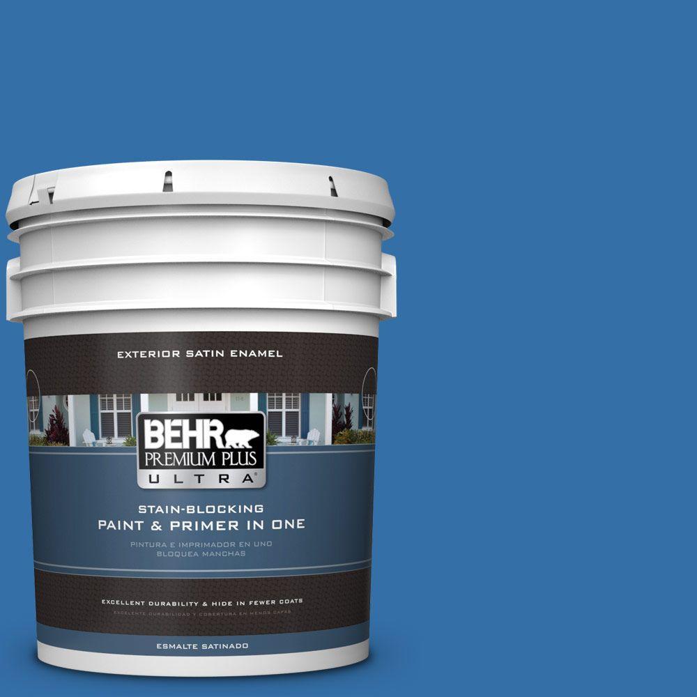 BEHR Premium Plus Ultra 5-gal. #P520-6 Mega Blue Satin Enamel Exterior Paint