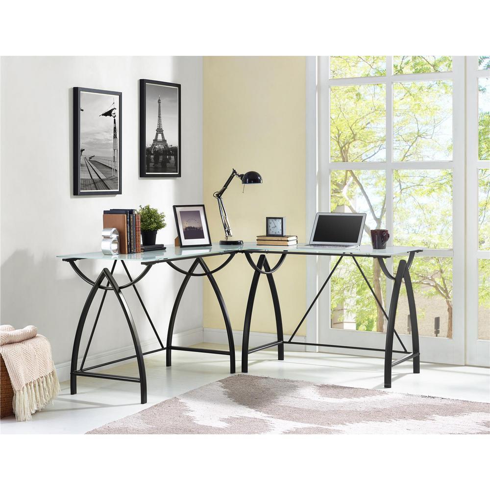 Altra Furniture Lacklan Glass Top Black L Shape Desk by Altra Furniture