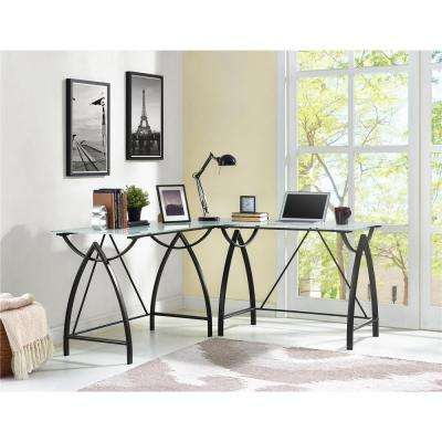 Lacklan Glass Top Black L Shape Desk