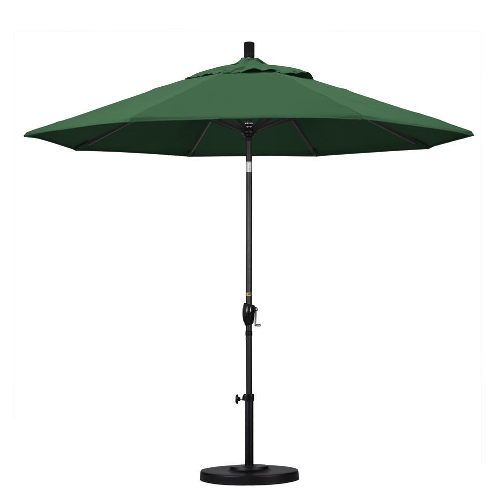 9 ft. Aluminum Push Tilt Patio Umbrella in Hunter Green Olefin