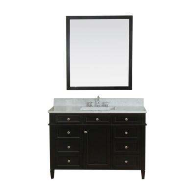 Samantha 48 in. W x 22 in. D Vanity in Espresso with Marble Vanity Top in White with White Basin and Mirror