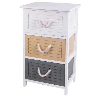 Multi Colored 3-Drawers Storage Chest Nightstand with Rope Handles