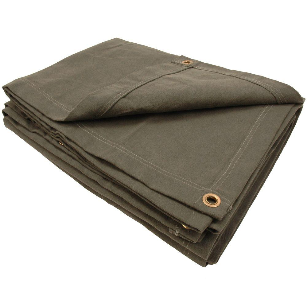 Sigman 6 ft. 8 in. x 8 ft. 8 in. 15 oz. Olive Drab Heavy Duty Canvas Tarp-DISCONTINUED