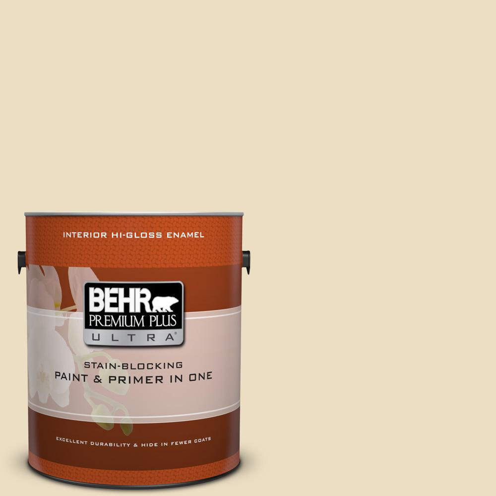1 gal. #PPL-76 Ecru Hi-Gloss Enamel Interior Paint