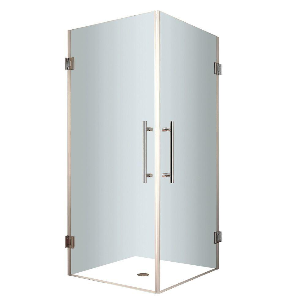 Aston Vanora 34 in. x 72 in. Frameless Square Shower Enclosure in Stainless Steel with Self Closing Hinges