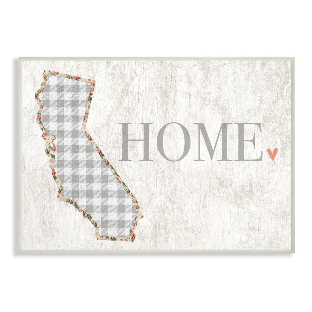 "10 in. x 15 in. ""California Grey Gingham and Floral Heart"