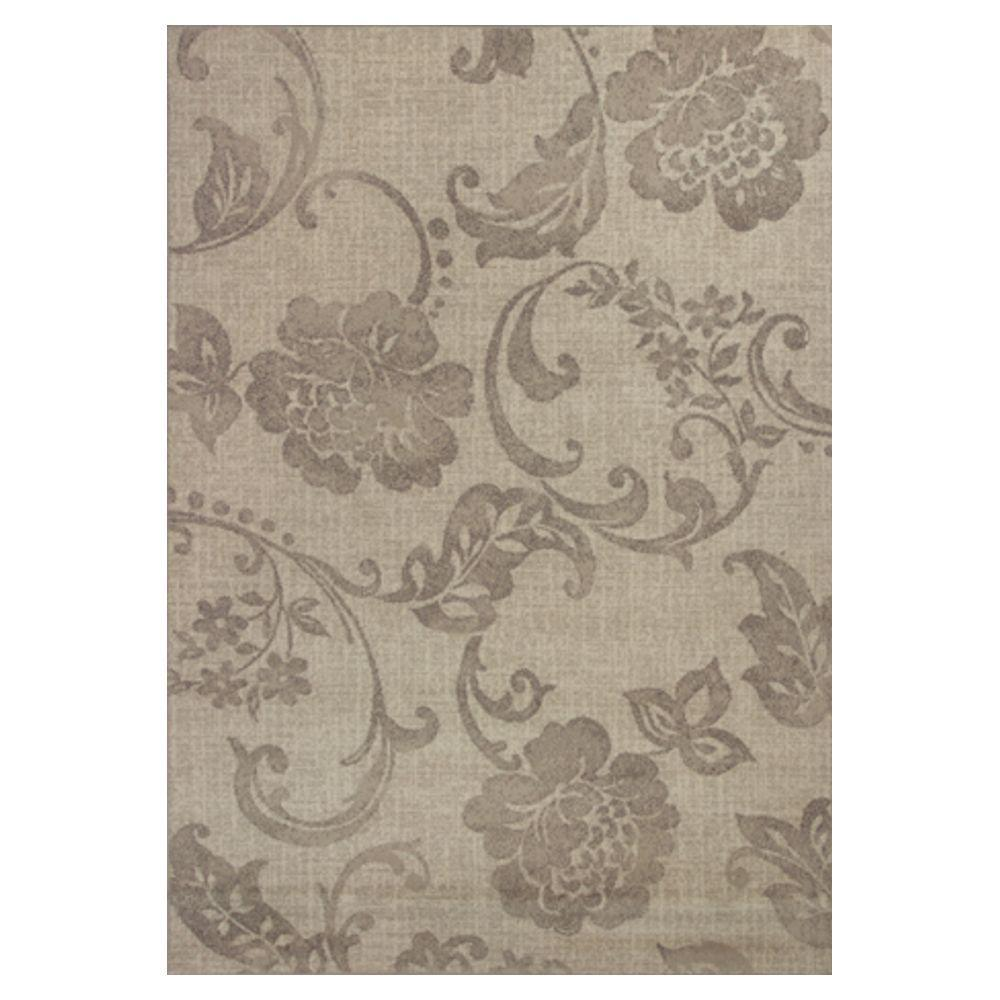 Kas Rugs Subtle Brocade Grey/Beige 6 ft. 7 in. x 9 ft. 6 in. Area Rug