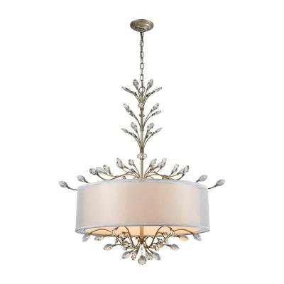 Asbury 6-Light Aged Silver Chandelier With Silver Organza Shade