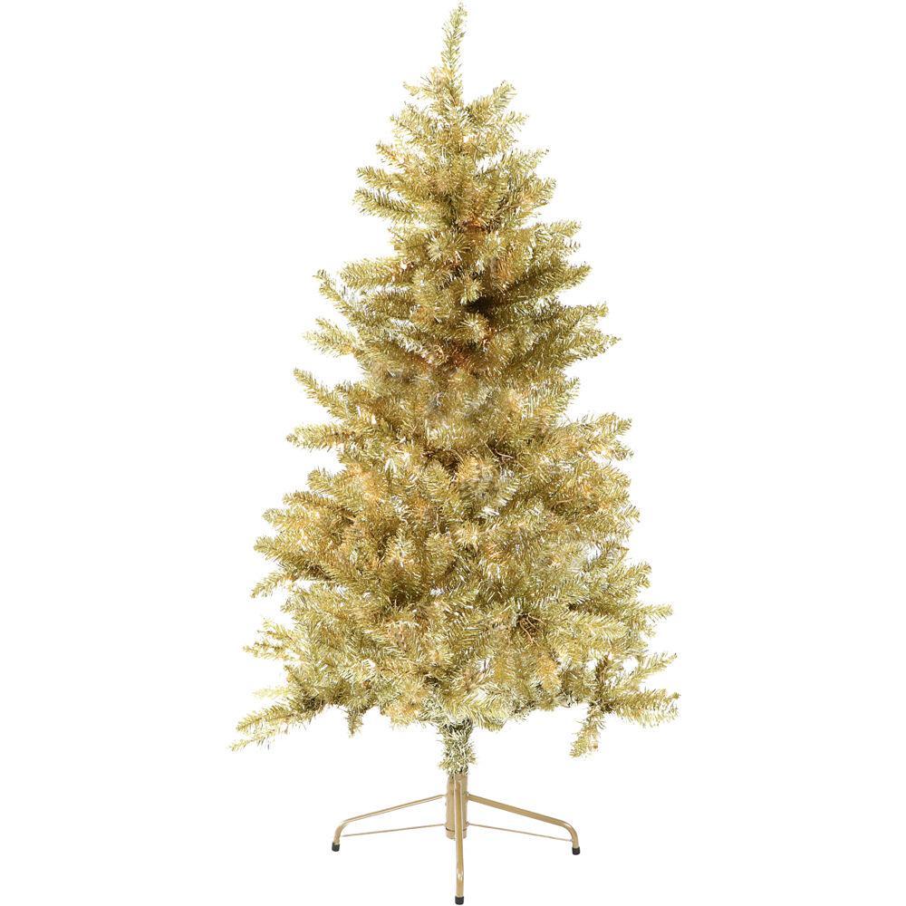 6 ft. Festive Gold Tinsel Christmas Tree