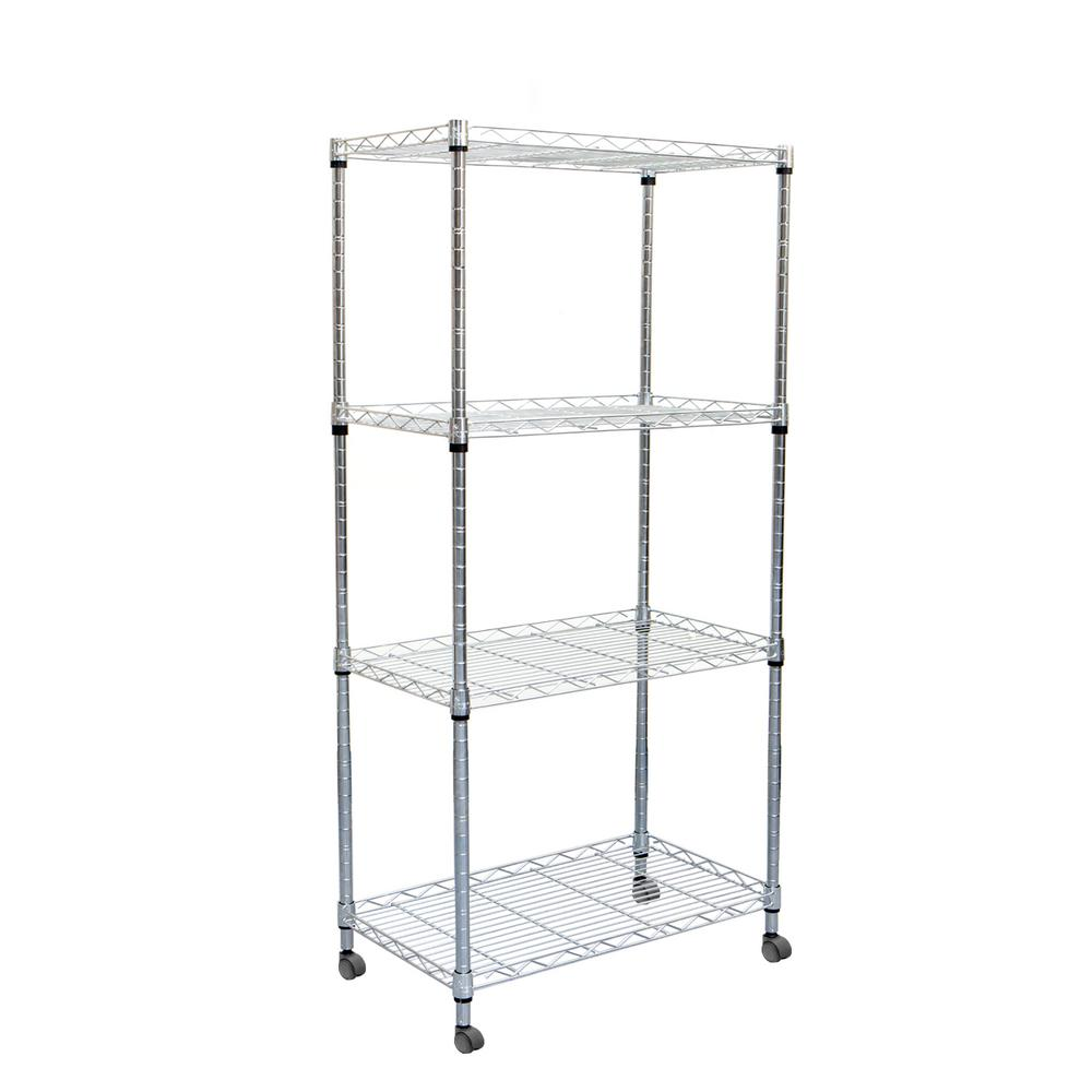 Mind Reader 49 in. H x 23 in. W x 13 in. L 4-Tier Metal Storage Rack Shelving Unit with Wheels in Silver