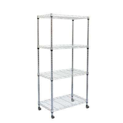 49 in. H x 23 in. W x 13 in. L 4-Tier Metal Storage Rack Shelving Unit with Wheels in Silver
