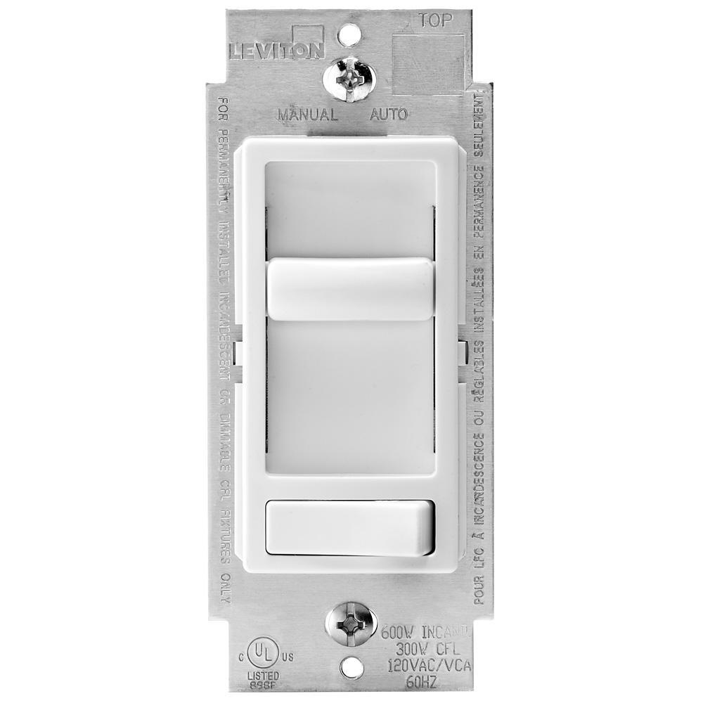 SureSlide 600-Watt Single Pole and 3-Way Incandescent-CFL-LED Slide Dimmer, 2-Pack, White
