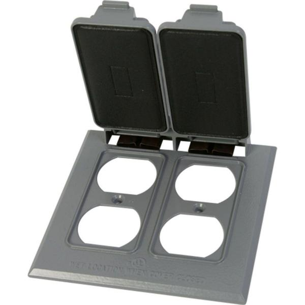 Double Duplex Weatherproof Electrical Outlet Cover - Gray