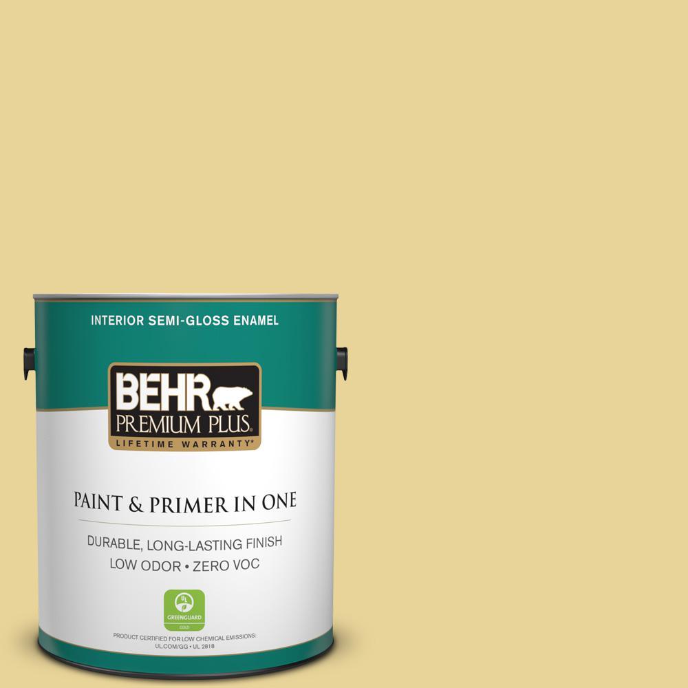 BEHR Premium Plus 1-gal. #390D-4 Honey Beige Zero VOC Semi-Gloss Enamel Interior Paint