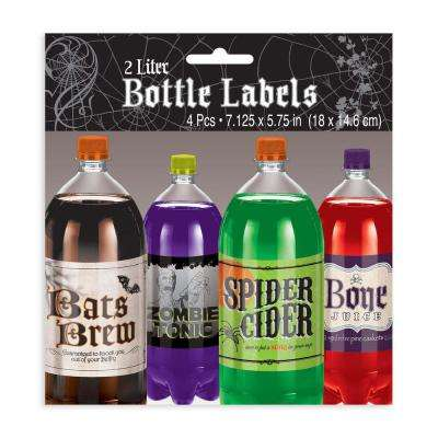 5.75 in. x 7.125 in. Halloween Shocktails 2-Liter Bottle Label (4-Count, 5-Pack)
