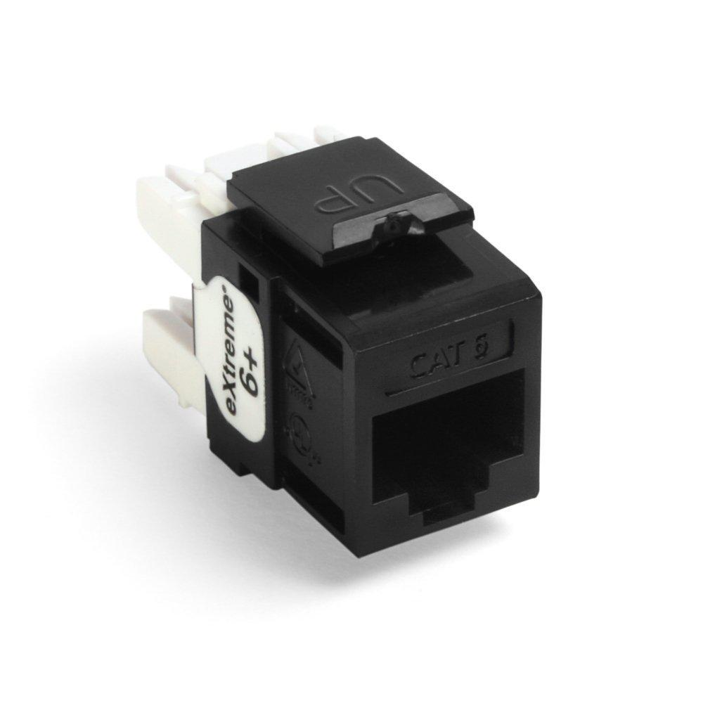 Leviton QuickPort Extreme CAT 6 Connector with T568A/B Wiring, Black