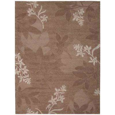 Shadow Leaves Chocolate 5 ft. 6 in. x 7 ft. 5 in. Area Rug