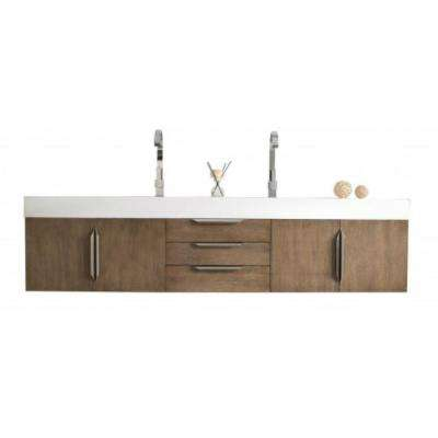 Mercer Island 72 in. W Double Vanity in Latte Oak with Solid Surface Vanity Top in White with White Basin