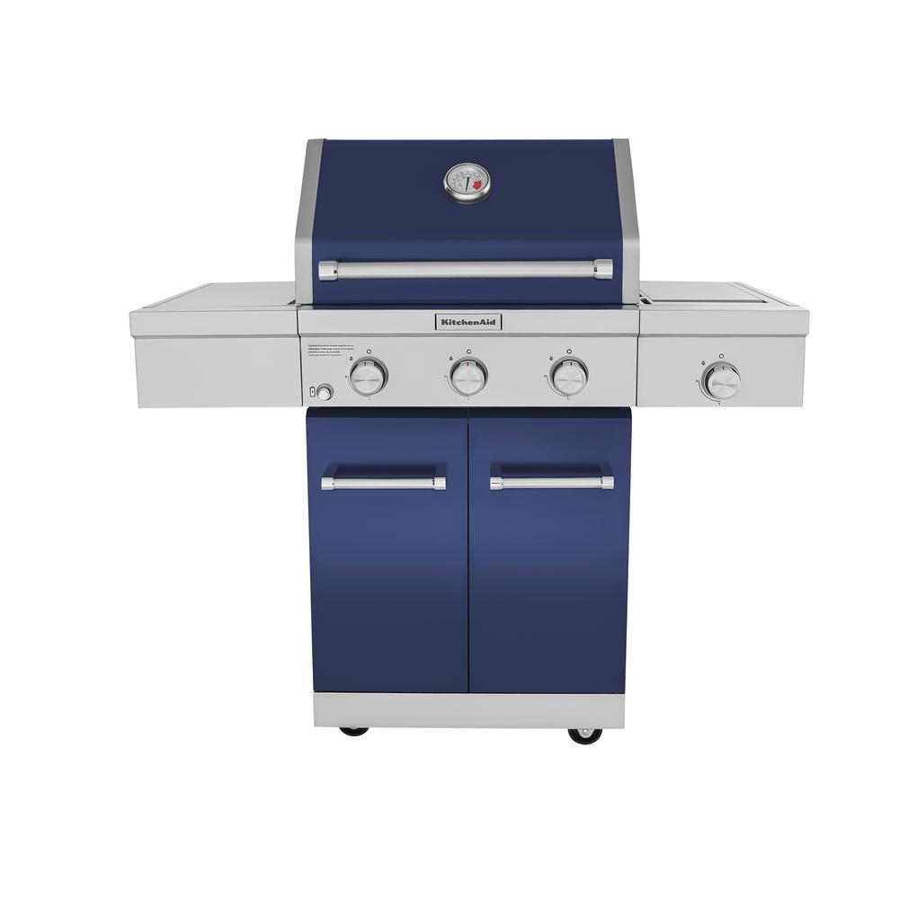 kitchenaid 720 0826. 3-burner propane gas grill in blue with ceramic sear side burner. kitchenaid kitchenaid 720 0826