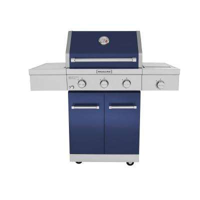 3-Burner Propane Gas Grill in Blue with Ceramic Sear Side Burner