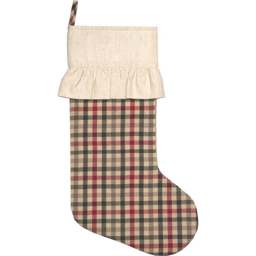20 in. Hollis Ivory White Farmhouse Christmas Decor Plaid Stocking