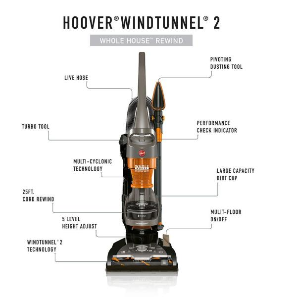 Hoover Windtunnel 2 Whole House Rewind Bagless Pet Upright Vacuum Cleaner Uh71255 The Home Depot