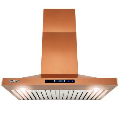 30 in. Convertible Wall Mount Copper Stainless Steel Kitchen Range Hood with Touch Panel