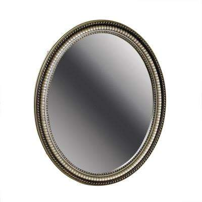 25 in. W x 32 in. H Zenith Oval Mirror Surface Mount Medicine Cabinet in Pewter
