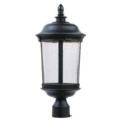 Dover 9.25 in. Wide 1-Light Outdoor Bronze Integrated LED Post Light