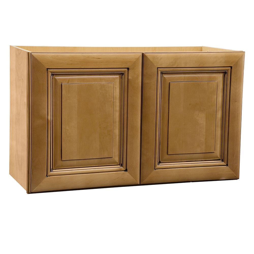 30x18x12 in. Lewiston Assembled Wall Double Door Cabinet in Toffee Glaze