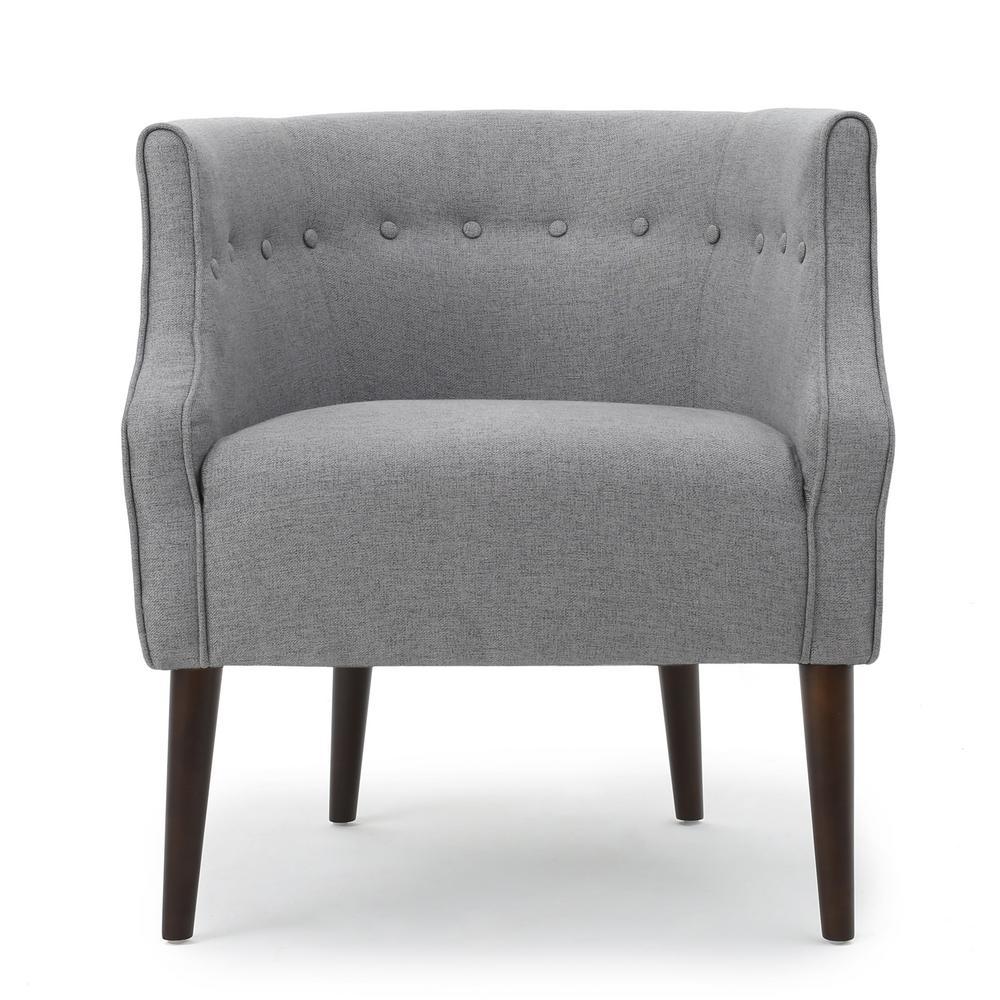 Brandi Button Back Gray Fabric Club Chair