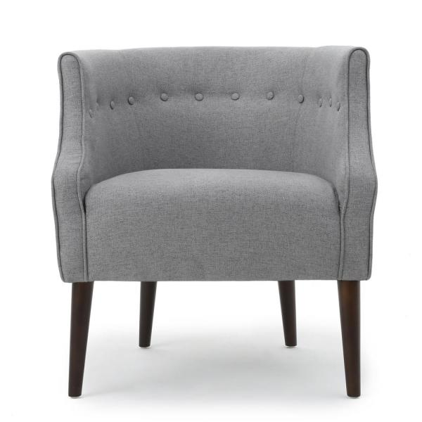Brandi Button Back Gray Fabric Club Chair