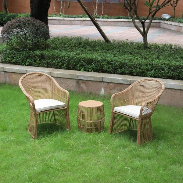 Maypex Natural Brown 3 Piece Wicker Outdoor Conversation Set With Beige Cushions 300275 Nt The Home Depot