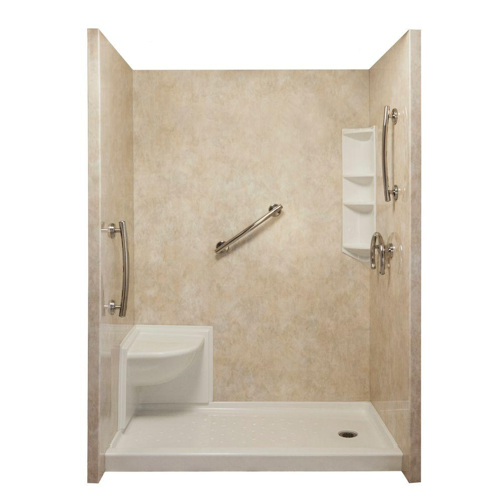 Ella Complete Freedom 40 in. x 65 in. x 98.5 in. 3-piece Easy Up Adhesive Shower Surround Package in Travertine