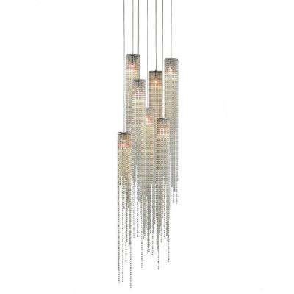 Bead 7-Light Brushed Nickel Pendant