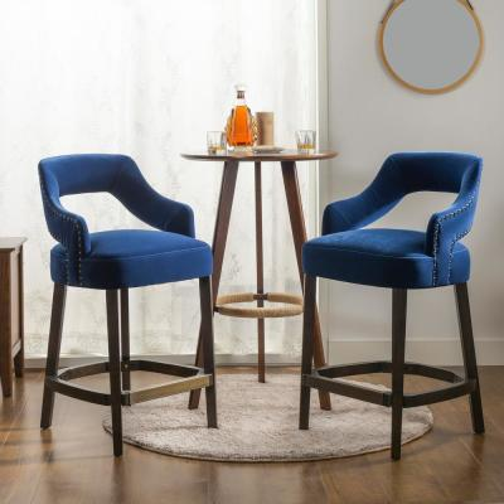 Moderne 26 Counter Height Bar Stool (Set of 2), Indigo Blue