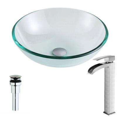 Etude Series Deco-Glass Vessel Sink in Lustrous Clear with Key Faucet in Polished Chrome