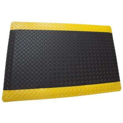 Diamond Plate Anti-Fatigue 2-Sides Black/Yellow 2 ft. x 25 ft. x 9/16 in. Commercial Mat