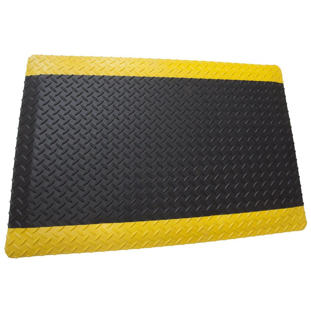 Diamond Plate Anti-Fatigue 2-Sides Black/Yellow 2 ft. x 2...