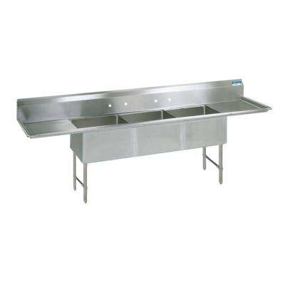 16/304 Freestanding Stainless Steel 123 in. L Triple Bowl Kitchen Sink with Drains