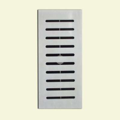 Made2Match Greecian White Polished-Marble 5 in. x 11 in. Floor Vent Register Tile Edging Trim