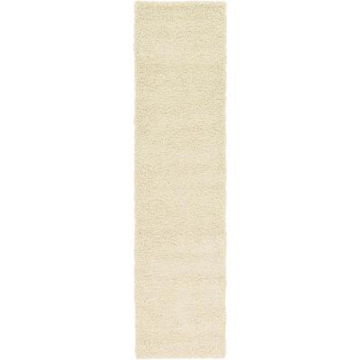 Solid Shag Pure Ivory 10 ft. Runner Rug