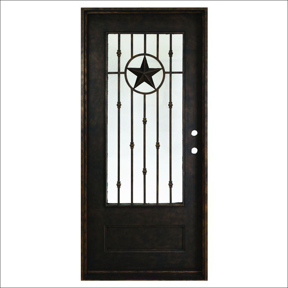 Texas Star Antique Rubbed Bronze Left - Steves & Sons 37.5 In. X 81 In. Texas Star Antique Rubbed Bronze