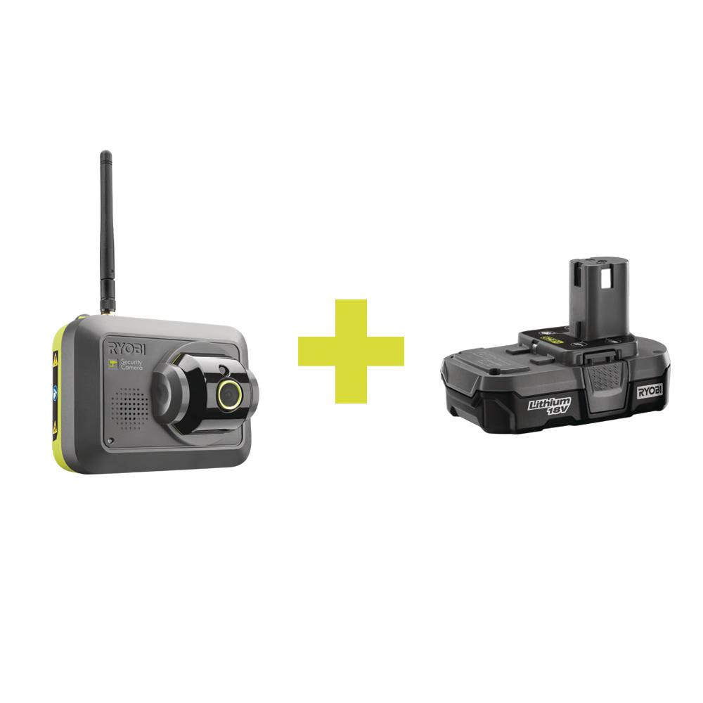 Ryobi Security Camera Accessory with Compact Lithium Battery