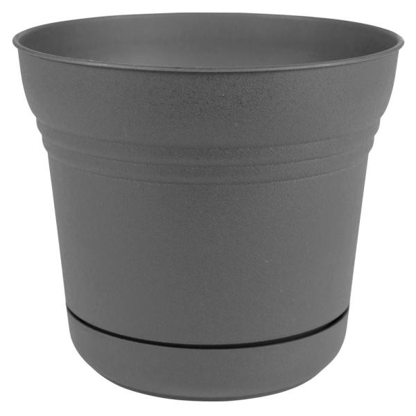 Saturn 12 in. x 10.75 Charcoal Plastic Planter with Saucer