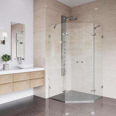 Gemini 40 in. x 73.375 in. Frameless Neo-Angle Shower Enclosure in Brushed Nickel with Clear Glass